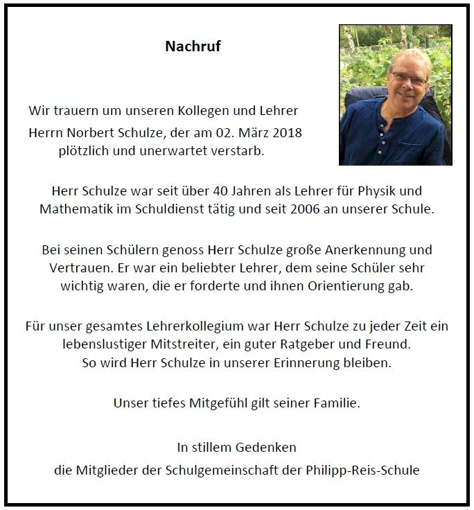 Nachruf für unseren Kollegen Norbert Schulze